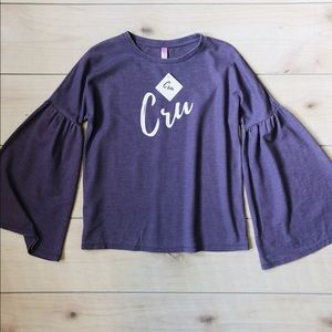 Tops - Purple Thermal Bell Sleeve Cru Top
